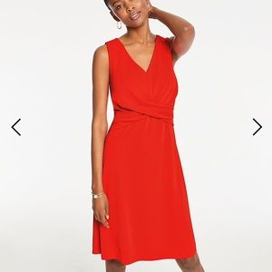 NWT ANN TAYLOR TWIST WAIST RED DRESS